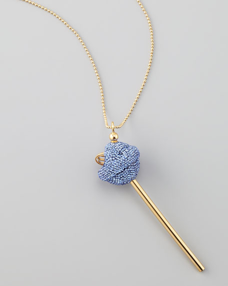 Yellow Gold Crystal-Encrusted Lollipop Necklace, Blue