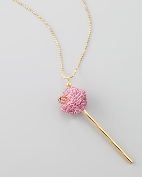 Yellow Gold Crystal-Encrusted Lollipop Necklace, Pink