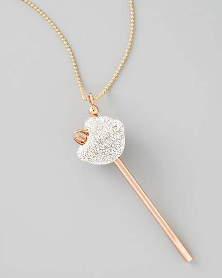 Rose Gold Crystal Lollipop Necklace, Clear