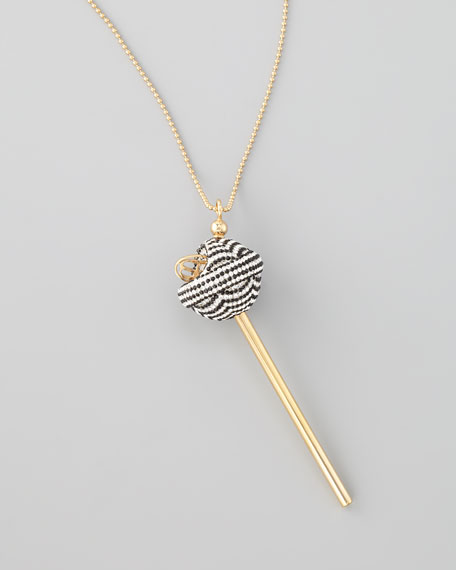 Yellow Gold Crystal-Encrusted Lollipop Necklace, Black/White