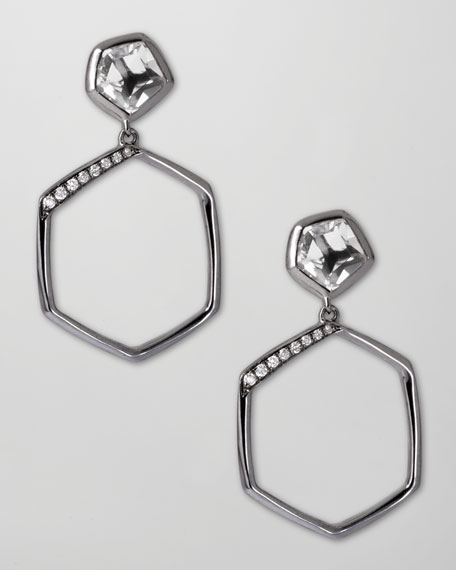 Pave Diamond Hexagon Drop Earrings, Clear Quartz