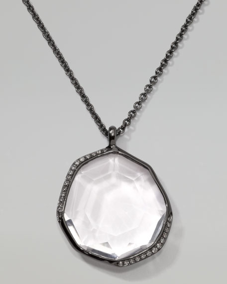 Pave Diamond Pendant Necklace, Clear Quartz