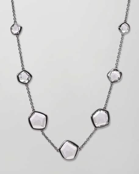 "Rock Candy Clear Quartz Station Necklace, 18""L"