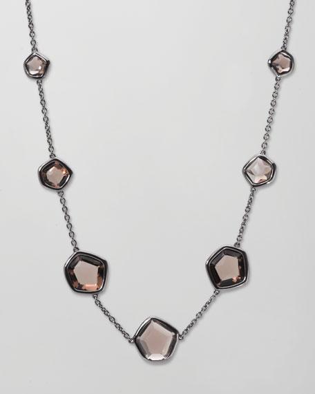 """Rock Candy Smoky Quartz Station Necklace, 18""""L"""