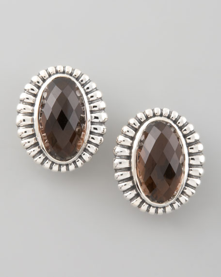 Venus Fluted Earrings, Smoky Topaz