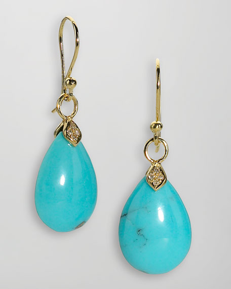 18k Gold Diamond & Turquoise Teardrop Earrings