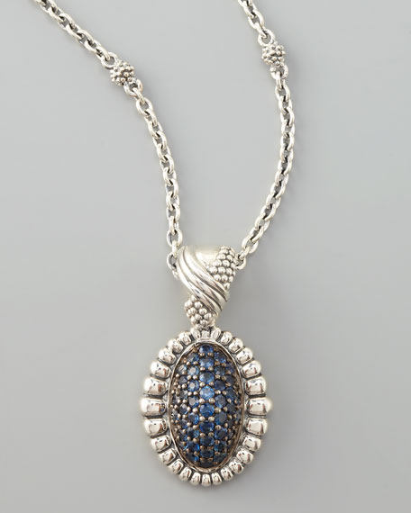 Muse Pave Sapphire Pendant Necklace, Medium