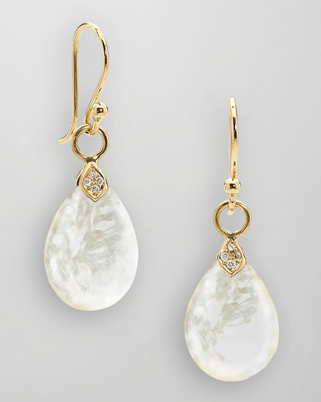 18k Gold Diamond & Mother-of-Pearl Teardrop Earrings