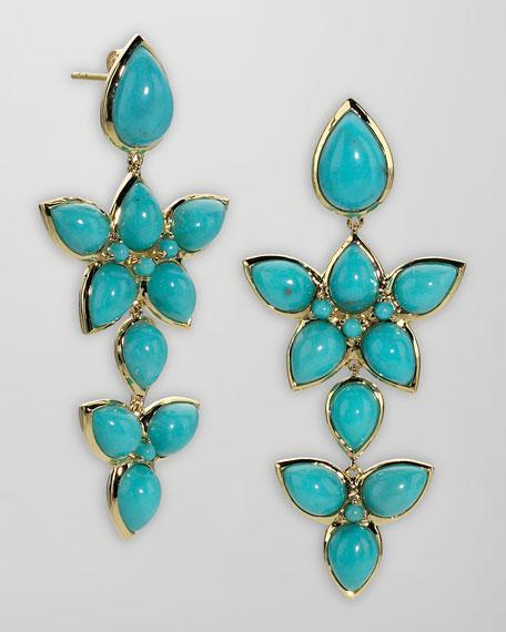 18k Gold Turquoise Cluster Earrings