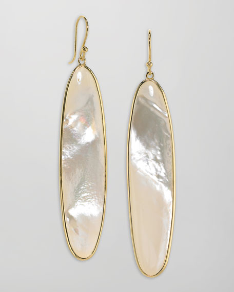 Long 18k Gold Mother-of-Pearl Drop Earrings