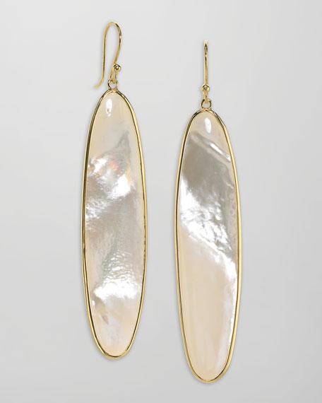 Long 18k Gold Mother-of-Pearl Drop Earrings