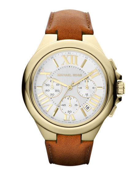 Mid-Size Golden Stainless Steel and Leather Camille Three-Hand Watch