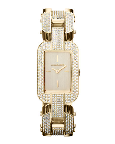 Mid-Size Golden Stainless Steel Brit Two-Hand Glitz Watch
