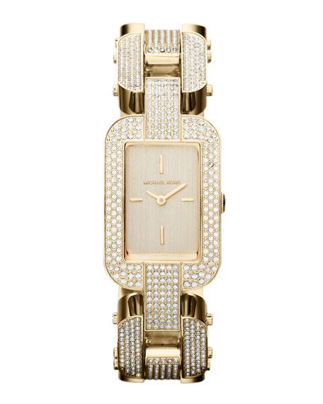 Mid-Size Golden Stainless Steel Brit Two-Hand Glitz Watch