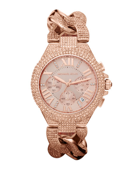 Mid-Size Rose Golden Stainless Steel Camille Chronograph Glitz Link Watch