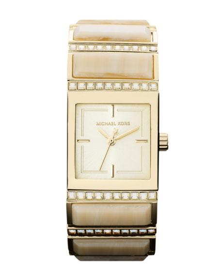 Mini-Size Golden Stainless Steel Erin Three-Hand Glitz Watch