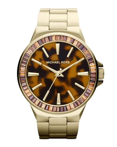 Mid-Size Golden Stainless Steel Gramercy Three-Hand Glitz Watch