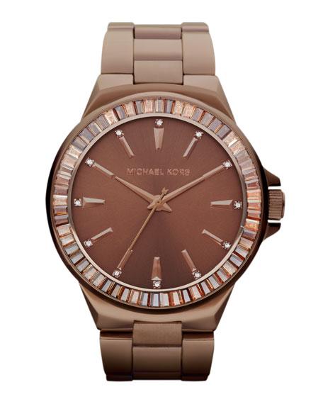Mid-Size Espresso Stainless Steel Gramercy Three-Hand Glitz Watch