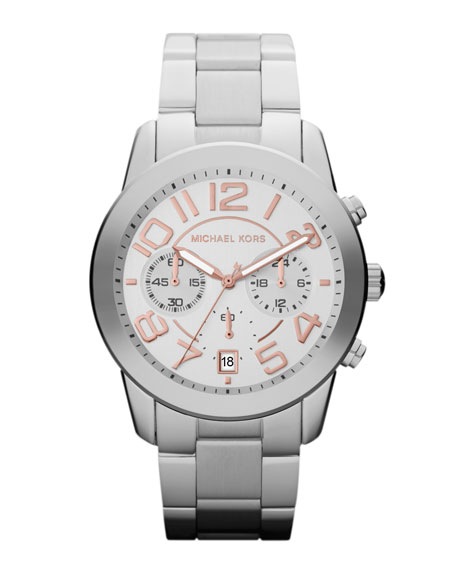 Mid-Size Silver Color Stainless Steel Mercer Chronograph Watch