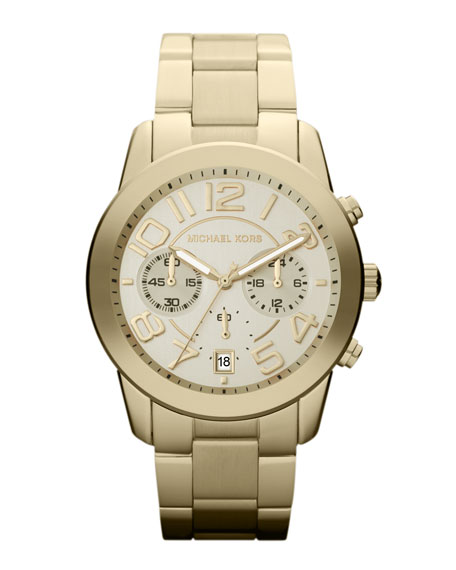 Mid-Size Golden Stainless Steel Mercer Chronograph Watch