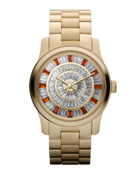 Mid-Size Golden Stainless Steel Runway Three-Hand Glitz Watch