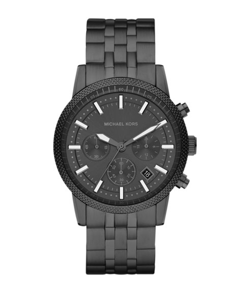 Mid-Size Gunmetal Stainless Steel Runway Chronograph Watch