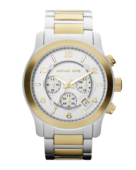 Silver Color/Golden Stainless Steel Runway Chronograph Watch