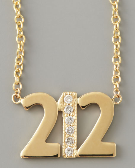 Pave Diamond Area Code Necklace