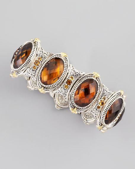 Oval Cognac Quartz Bracelet