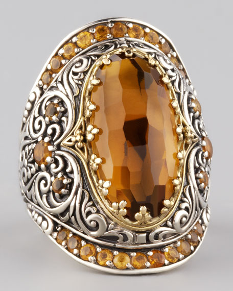 Cognac Topaz Scroll Cocktail Ring