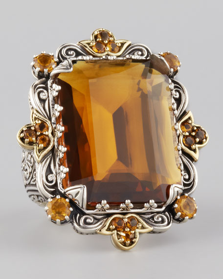 Emerald-Cut Cognac & Citrine Cocktail Ring