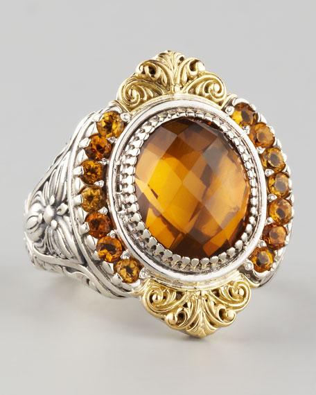 Ilios Small Round Cognac Quartz Ring