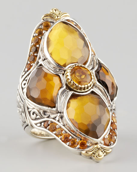Cognac Topaz Figure-8 Cocktail Ring