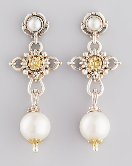 Kassandra Pearl Cross Drop Earrings