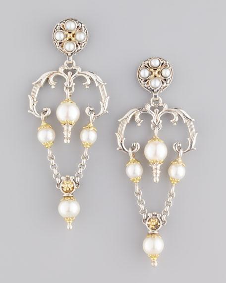 Kassandra Upside-Down Triangle Pearl Earrings