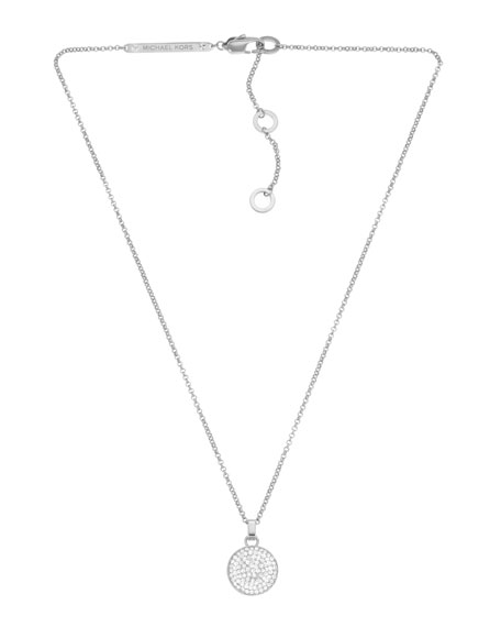 Pave Concave Pendant Necklace, Silver Color