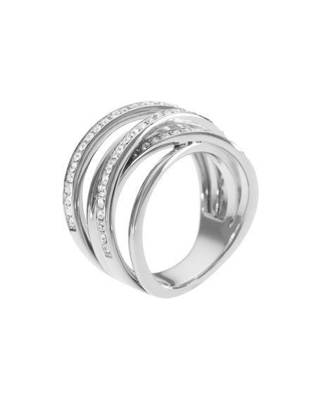 Pave Stacked Ring, Silver Color