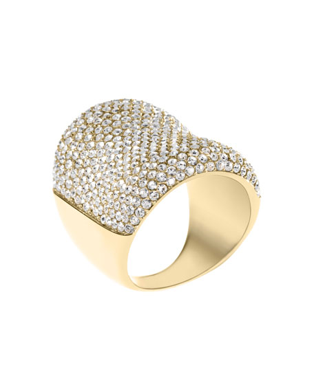 Concave Pave Ring, Golden