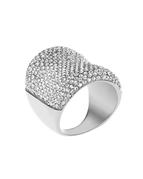 Concave Pave Ring, Silver Color