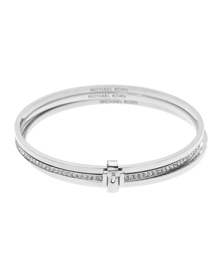 Buckled Bangle Set, Silver Color