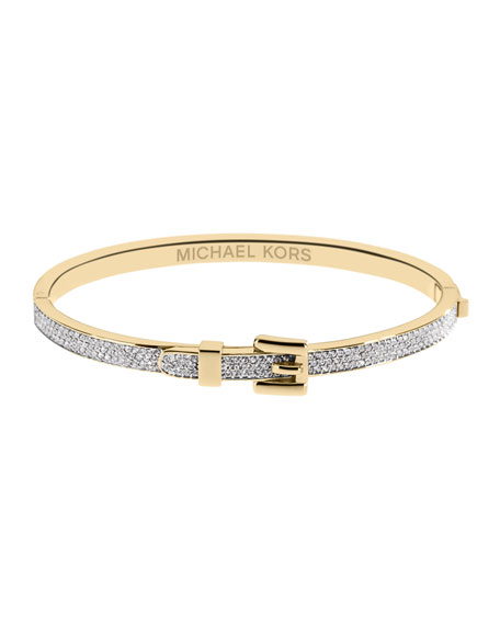 Pave Buckle Bangle, Golden