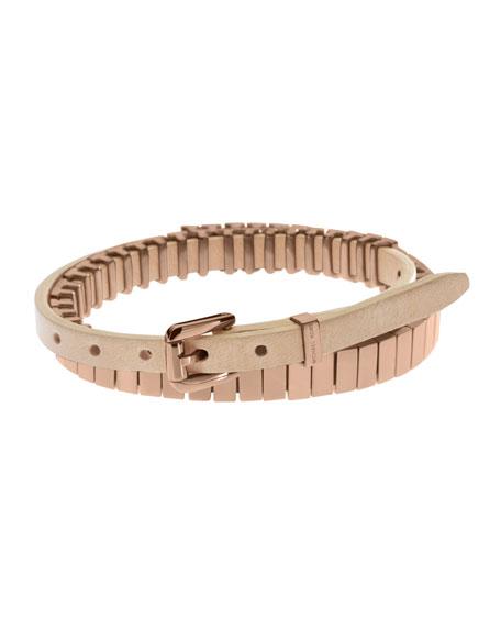Double-Wrap Leather Bracelet, Rose Golden