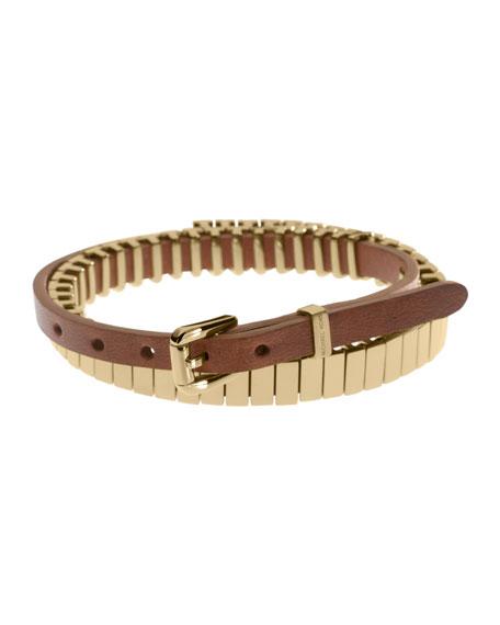 Double-Wrap Leather Bracelet, Golden