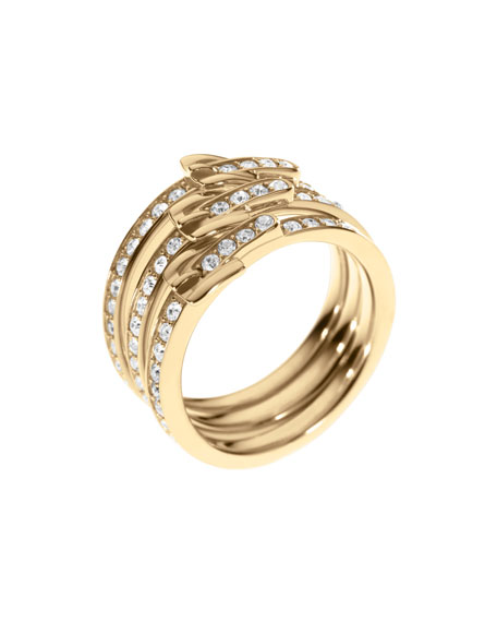 Stacked Buckle Pave Ring, Golden