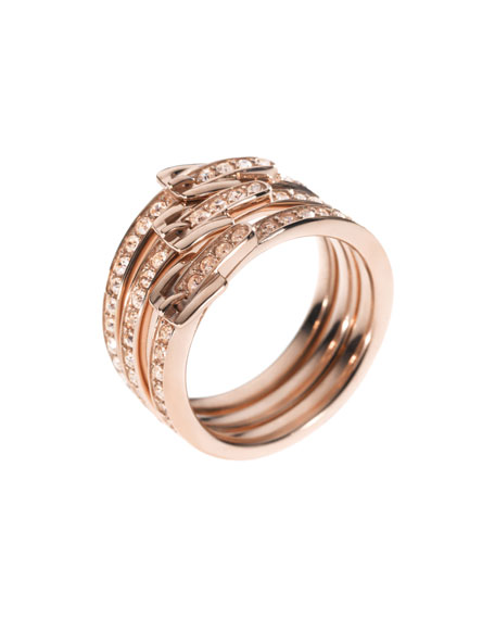 Stacked Buckle Pave Ring, Rose Golden