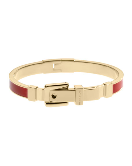 Enamel Buckle Bangle, Golden