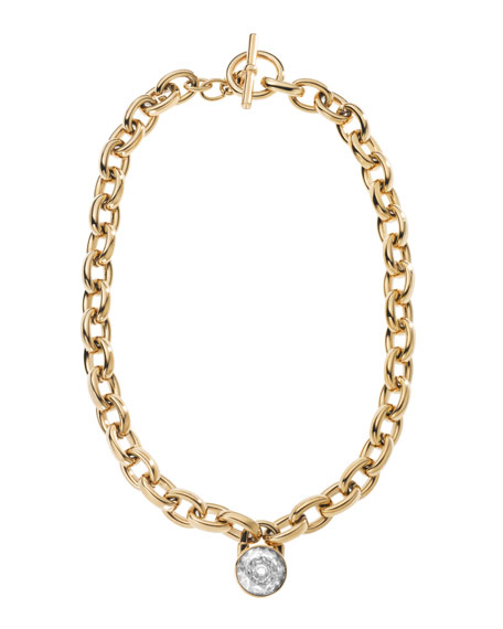 Chain-Link Padlock Necklace, Golden