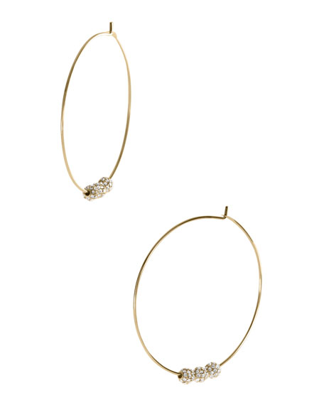 Pave-Ball Hoop Earrings, Golden