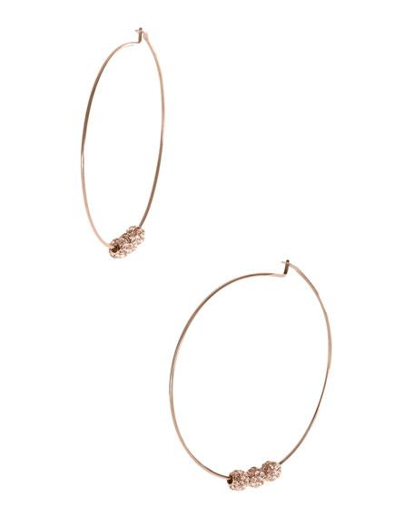 Pave-Ball Hoop Earrings, Rose Golden