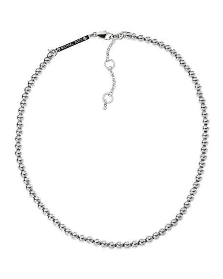 Bead Necklace, Silver Color